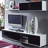 Habitdesign - Mueble de salón Moderno, modulos Comedor Alida, Acabado en Color Blanco Brillo y Negro Brillo Medidas: 43 x 200 x 41 cm de Fondo