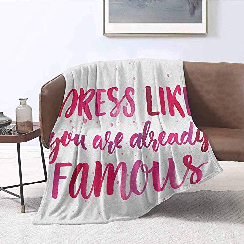 SHCNB Bed Comforter Full Inspirational Watercolor Quote About Fashion Clothes Fame Pink Brushstrokes Calligraphy Pink Fuchsia Digital Printing Blanket 50'x60' Inch 48x60IN