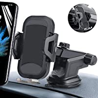 2019 New Version Car Phone Mount, Hands Free Phone Holder for Car Dashboard Air Vent Windshield Strong Suction Cup, Compatible iPhone X/XR/XS/8 Plus/8/7/6s, Samsung S10/S9/S8, All Phones mini tablets