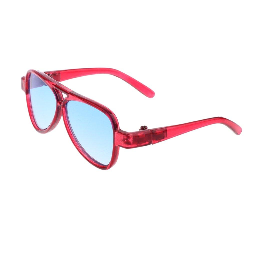 MagiDeal Occhiali Vista Specchio Ovali Telaio Moda Stile Per 1/3 BJD Bambole Accessori Plastica - Bl