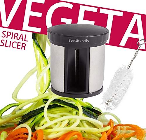 Bestutensils tagliaverdure a spirale, per affettare le zucchine a forma di tagliatelle o spaghetti, con spazzola per la pulizia, manuale, nero