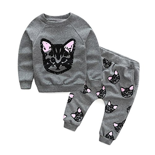 OverDose Kinder Baby Mädchen Jungen Kleidung Set Langarm Katzen Drucken Trainingsanzug Bluse Pullover Tops + Pants Outfits Set(2T,A-Grau)