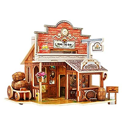 Indexp 3D DIY Exotic Wooden Puzzle Miniature Doll House, Creative Furniture Handcraft Jigsaw Educational Toy Gift Set