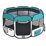 zoomundo Welpenauslauf Welpenlaufstall Tierlaufstall Faltbar für Welpen Hunde Katzen Kleintiere Laufstall 8-Eck aus Stoff - Groß in Grün