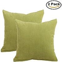 pinji–Juego de 2/4funda de cojín cuadrado terciopelo cotelé funda de almohada décotation de la casa coche cama sofá, 2 Pack Vert, 45*45CM