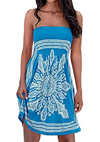 Nergivep ladies bohemian dresses Strapless Floral Print Bohemian Dress Casual Mini Beach Dresses XL Blue