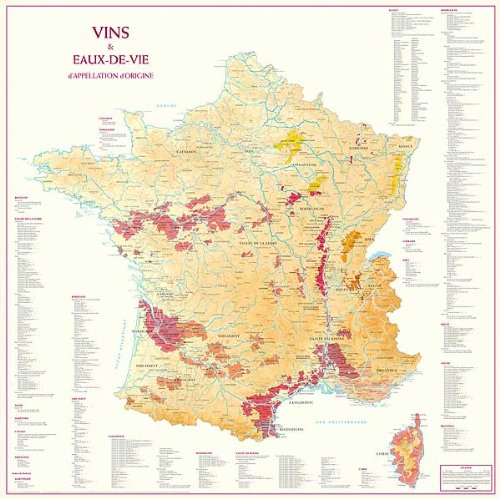 Vins et Eaux de Vie Aoc en France 88 Cm X 88 Cm