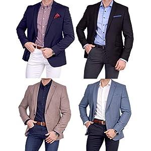 Unbekannt Herren Sakko Schurwolle/Polyester klassisch Reverskragen Blazer Zweiknopf Jackett Anzug Slim Fit bequem