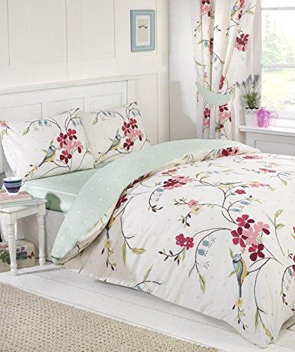 Signature uccellino floreale trapunta e copripiumino, federe e tende e lenzuola stanza in una borsa, set biancheria da letto, double-face, colore: bianco, matrimoniale