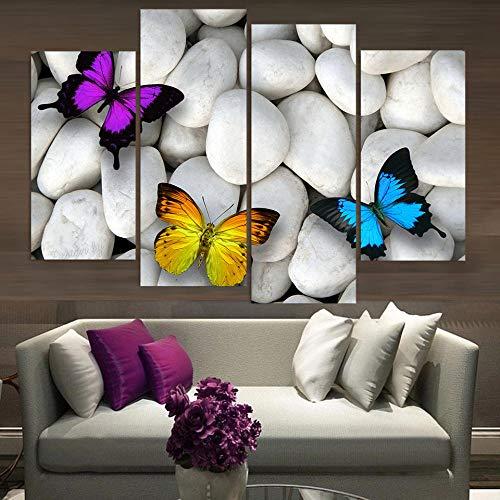 RDCHY Cuadros Lienzo 4 Piezas Mariposa Color HD Imagen