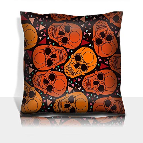 se Cotton Satin Comfortable Decorative Soft Pillow Covers Protector Sofa 18x18 1 Pack Skull with Polygonal Ornament Halloween ()