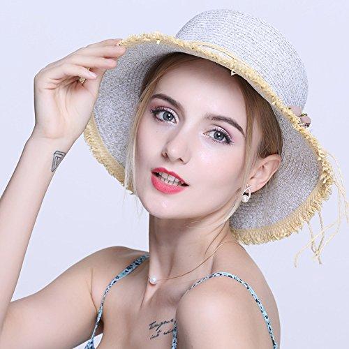 Fiori estivi cappello di paglia ragazza in un estate spiaggia femmina hat coreano frontiera marittima dell'ombrellone cappello di paglia, m (56-58cm pescatore) , grigio argento