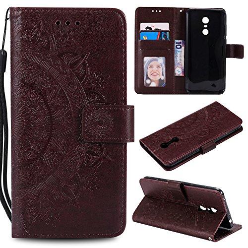 BONROY Hülle für Xiaomi Redmi 5 Plus Handytasche Handy Hüllen Flip Case Cover Schutzhülle Brieftasche Ledertasche Wallet Lederhülle Etui Bookstyle Klapphülle Kartenfächer-(HH Totem Geprägt-Braun)