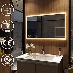 Meykoers Wandspiegel Badezimmerspiegel LED Badspiegel mit Beleuchtung 100x60cm Warmweiß 3000K, Spiegel mit Beleuchtung Lichtspiegel durch Wand-Schalter