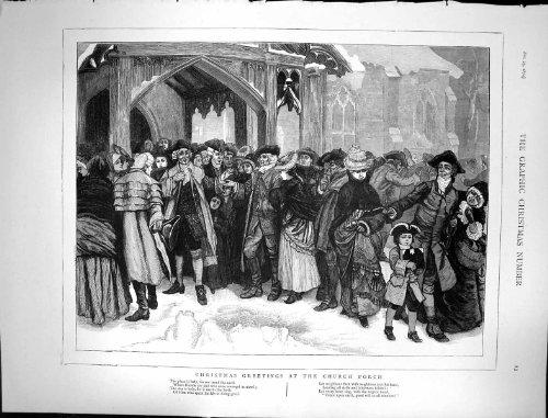 1874 natali che accolgono la stampa dell'oggetto d'antiquariato delle famiglie del portico della chiesa