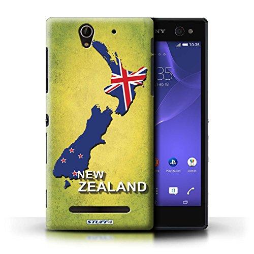 Kobalt® Imprimé Etui / Coque pour Sony Xperia C3 / Suisse/Swiss conception / Série Drapeau Pays nouvelle Zélande