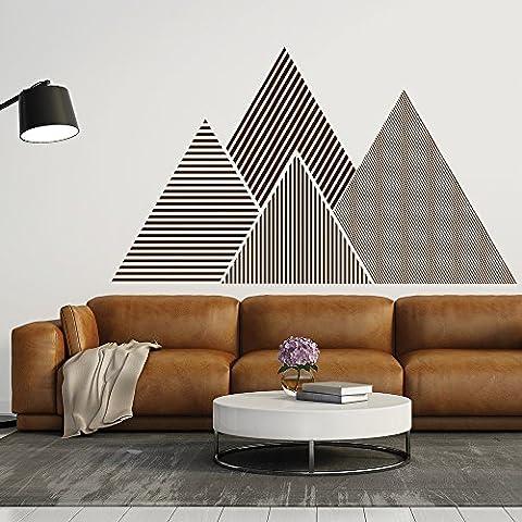 Berg Wandaufkleber Geometrisch Wandtattoo Wohnzimmer Schlafzimmer Wohnkultur verfügbar in 5 Größen und 25 Farben X-Groß Zitrone (05 Berg)