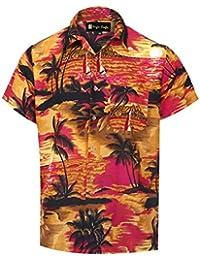 Virgin Crafts Camisa Hawaiana de Mangas Cortas con Cuello en V para Hombre  Camisa pequeña de 2f15c65f749e0