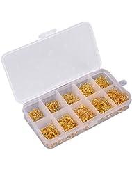 Caja con 600 unids anzuelos de carbono color dorado