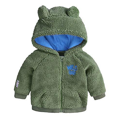 Riou-Baby Kleidung Winter Warme Mantel Kapuzenjacke Kinderjacke Wintermantel Daunenjacke Neugeborenen Baby Jungen Mädchen Cartoon Fleecejacke mit Kapuze Pullover Tops Warme Kleidung (18M, Grün)