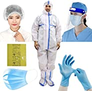 ORILEY OLPPE6 6-in-1 PPE Kit Personal Protective Equipment Combo with DRDO Approved Coverall Suit, Meltblown F