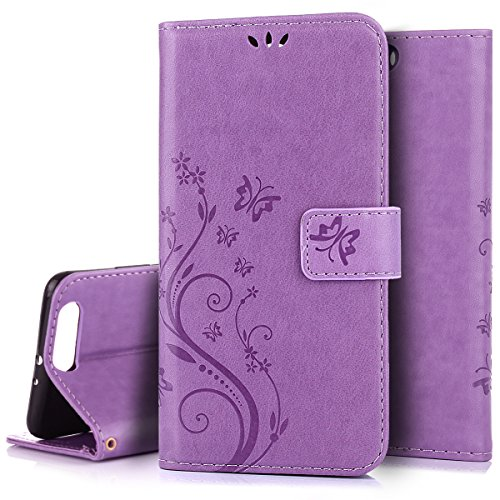 Custodia Huawei P10 plus,Case Cover per Huawei P10 plus, Ukayfe Luxury Puro Colore Modello Goffratura Vines Fiore e Farfalla Cristallo 3D Design Bumper Slim Folio Protectiva Lussuosa Custodia Cover [PU Leather] [Shock-Absorption] Protettiva Portafoglio Cover Custodia con Super Sottile Trasparente TPU Interno Case e Porta carte di credito Portafoglio Custodia Protettiva Cover Copertura Tutta Potente per Huawei P10 plus-Porpora chiaro 1#
