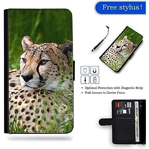 Hot Case Free Stylus // Portafoglio in Pelle Caso Protettiva Custodia Coperchio Slot Copertura Samsung Galaxy S7 Edge / cheetah on grass land