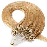 20'(50cm) Micro Ring Extensiones de Cabello Natural sin Clip [0.5g*100mechas] #24 Rubio Natural 100% Remy Pelo Humano Extensiones Queratina Micro Loop Human Hair Extensions (50g)
