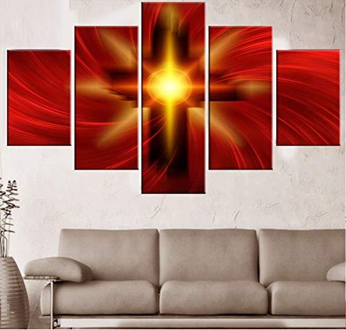 GLORIOUS.YY 5 Teilig Behalten Sie Den Glauben Christus Kreuz leinwand Bilder modern Wandbilder Foto - Fertig zum Aufhängen