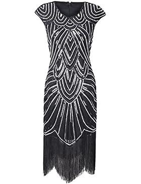 PrettyGuide Donne 1920 Eleganti Gatsby Diamante Paillettes Impreziosito Frange Vestito Da Sera