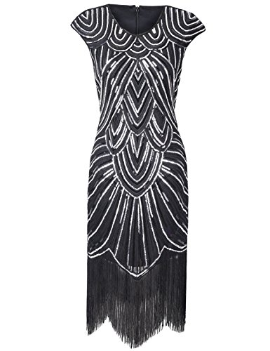PrettyGuide Damen 1920er Gastby Diamant Pailletten versch?nert mit Fransen Flapper Kleid Schwarz L (Great Gatsby Kleid)