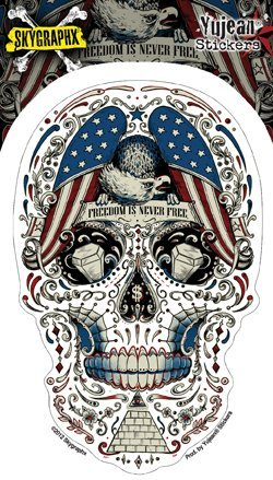 Skygraphx - Free for the Dead Patriotic Sugar Skull Sticker Decal - 3.5