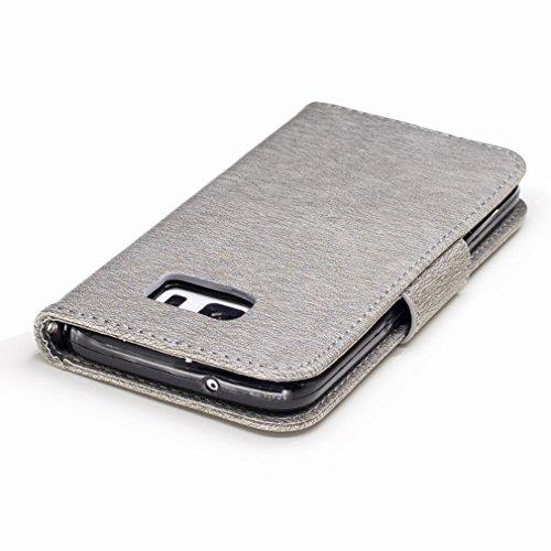 Yiizy Samsung Galaxy S7 / G930 / G930F / G930FD Custodia Cover, Fiore Di Farfalla Design Sottile Flip Portafoglio PU Pelle Cuoio Copertura Shell Case Slot Schede Cavalletto Stile Libro Bumper Protetti Grigio