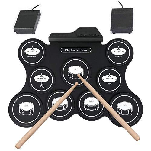YOUGL Elektronisches Schlagzeug, USB-Silikon-Roll-Up-Schlagzeug Digitales elektronisches Schlagzeug mit Drum-Stick/Fußpedal, für Kinder, Jugendliche, Erwachsene, Schlagzeuger