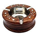 #7: Prisha India Craft Handmade Wooden Ashtray Hexagon for Home Office Car Gifts | Diameter 4.00 inch