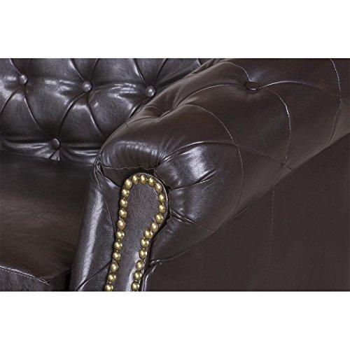 3-Sitzer Chesterfield Sofa Couch Garnitur ENIO, Kunstleder in antikbraun englischer Stil - 4