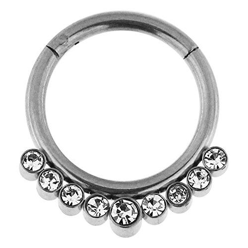 14 Gauge - 12MM Durchmesser Chirurgenstahl 9 Kristallsteinen gepflastert klappbar Segment Septum Nase Piercing Ring