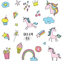 Unicorn Wall Stickers for Kids Bedrooms, Unicorn World Wall Stickers for Nursery, Baby Room, Kids Room- Stylish Unicorn Stickers with Hearts, Rainbow, Ice Cream, Popcorn, Diamonds, Stars, Clouds
