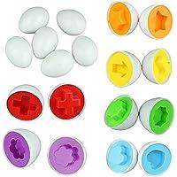 Hosaire Niños 6 Eggs/Set Aprendizaje Educación Juguetes Mezclado Forma Sabio Pretend Puzzle Color