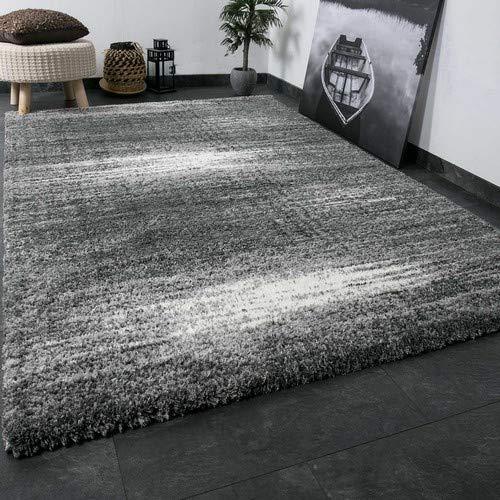 VIMODA Shaggy Teppich Microfaser Polyester Farbe Grau