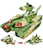Jiada 2 in 1 Convertible Plastic Tank and Jet Fighter Airplane Toy with Lights and Shooting Music