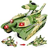 Jiada 2 in 1 Convertible Plastic Tank and Jet Fighter Airplane Toy with Lights and Shooting Music-Green