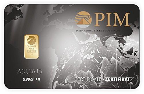 1g Gold 1 g Barren Goldbarren Scheckkartenformat Feingold 999.9 geblistert Nadir Gold