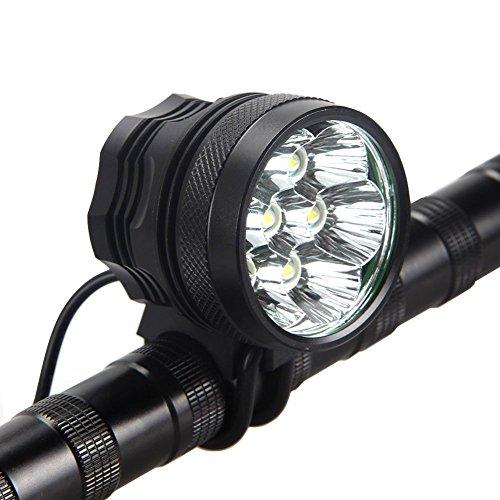 AIGUOZER® 7 LED 9800Lumen aufladbare Fahrradlicht Schweinwerfermit 8800mAh Batterie Frontlichter Kopfleuchte Helmlampe Doppelzweck Standlicht Kopflichter Fahrradlampe vorne wasserdicht Kopflampe