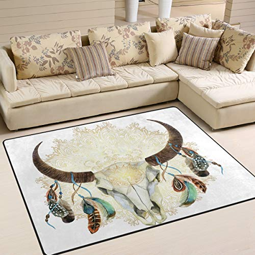 Naanle - Alfombra Antideslizante para Sala de Estar, Comedor, Dormitorio, Cocina, 50 x 80 cm, diseño de Calavera de Toro, 150 x 200 cm(5' x 7')