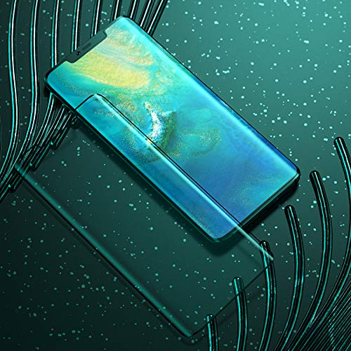 True Desire (Full Glue) Full Body 9H Tempered Glass, Full Edge-to-Edge Curved Screen Protector for Huawei Mate 20 Pro – (Black) with Free Installation Kit