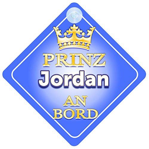 Prinz Jordan An Bord mit Krone Personalisierte Autokennzeichen Neues Baby Junge / Kind Geschenk / Präsentieren / Baby on Board / Autoschild … Neue Jordans Für Kinder