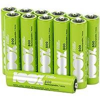 12 x Pilas Recargables AAA 100%PeakPower | Capacidad mínima garantizada 800 mAh NiMH |