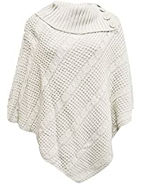 Les femmes Poncho 3 bouton pull cardigan tricoté - PONCHO 3 BUTTON CABLE NET JUMPER CARDIGAN KNITTED Taille plus