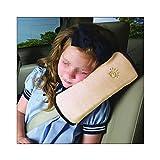 RotSale® 1x Beige Autokissen Sicherheitsgurt Kissen Schlafkissen Schulterschutz Nackenstütze Kopfkissen für Kinder Baby aus Microsuede